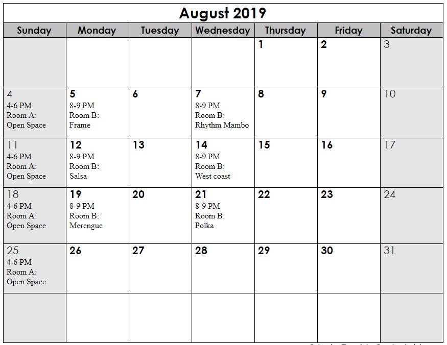 Aug 2019 schedule