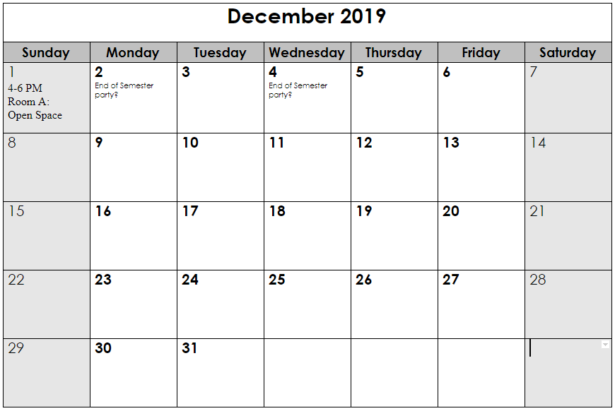 Dec 2019 schedule