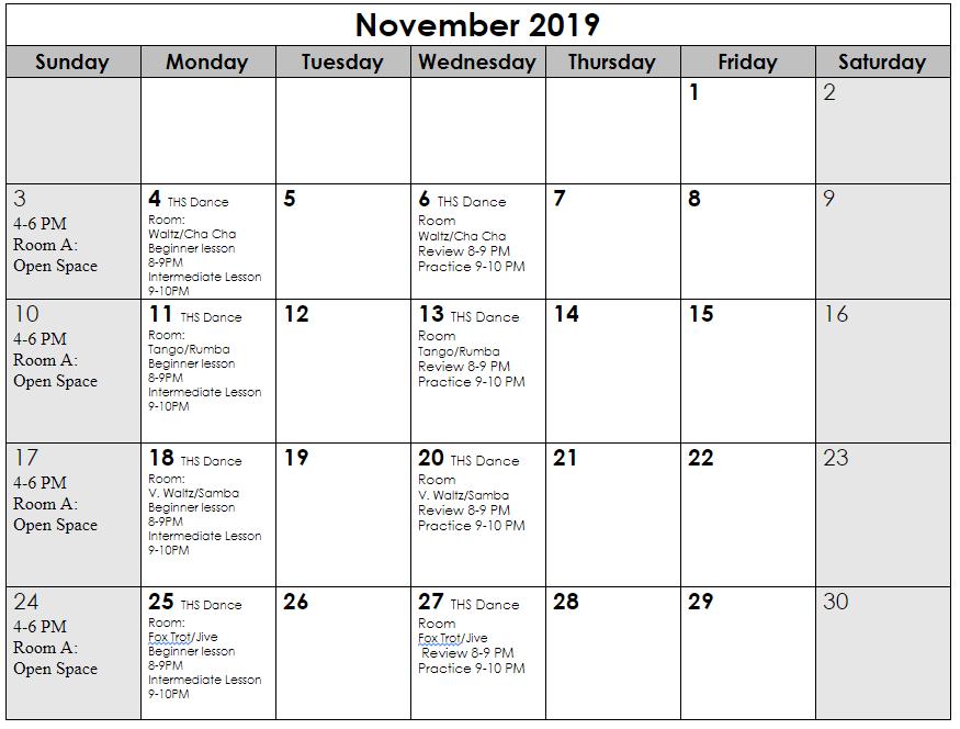 Nov 2019 schedule