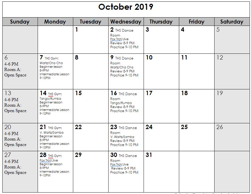 Oct 2019 schedule