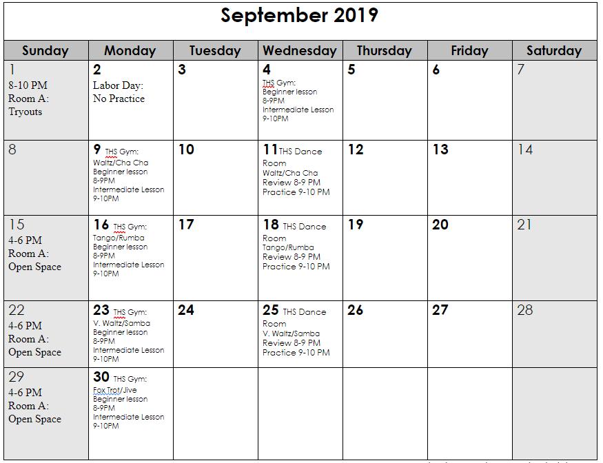 Sep 2019 schedule